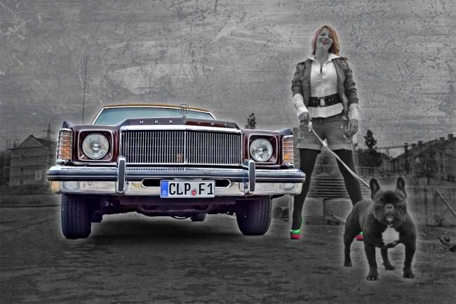 Friederike und Bella mit ihrem Mercury Monarch Ghia von 1976