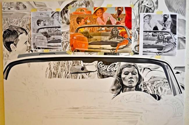 Der Entstehungsprozess eines Gemäldes dauert je nach Größe einige Monate. Vidal geht mit Perfektionismus ans Werk