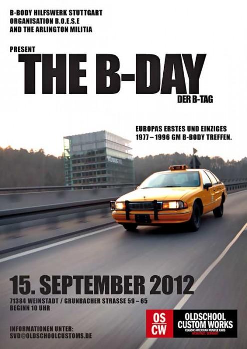 Am 15.9.2012 findet bei OSCW in Weinstadt Europas einziges GM-Fullsize-Treffen statt. Eingeladen sind alle GM-Fullsizes von 1977 bis 1996. Volvo dürfen auch kommen, werden aber ausgelacht. Tri-Chevys und alle anderen klassischen US-Autos sind eine Woche später am selben Ort zum 2nd Southern Musclecar Showdown eingeladen.